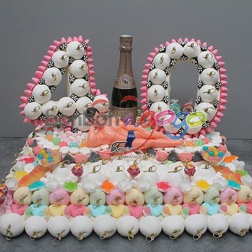 Acheter g teau anniversaire de bonbons chiffre 40 ans - Decoration en bonbon pour anniversaire ...