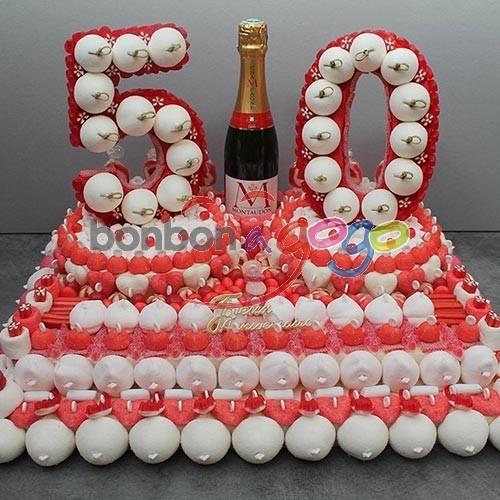 Acheter g teau anniversaire de bonbons chiffre 50 ans - Decoration en bonbon pour anniversaire ...